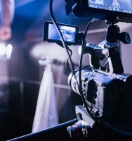 Behind the scenes of filming films or video products and the film crew of the film crew on the set in the pavilion of the film studio. Video Production Concept